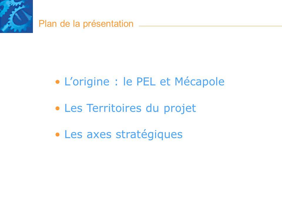 Plan de la présentation Lorigine : le PEL et Mécapole Les Territoires du projet Les axes stratégiques