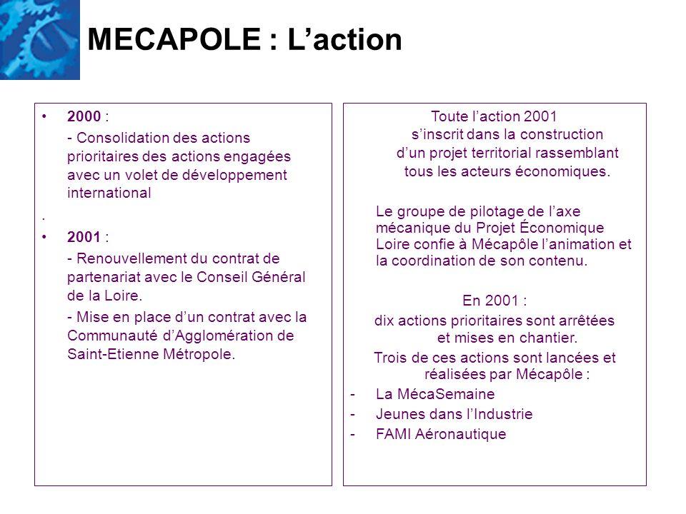 2000 : - Consolidation des actions prioritaires des actions engagées avec un volet de développement international. 2001 : - Renouvellement du contrat