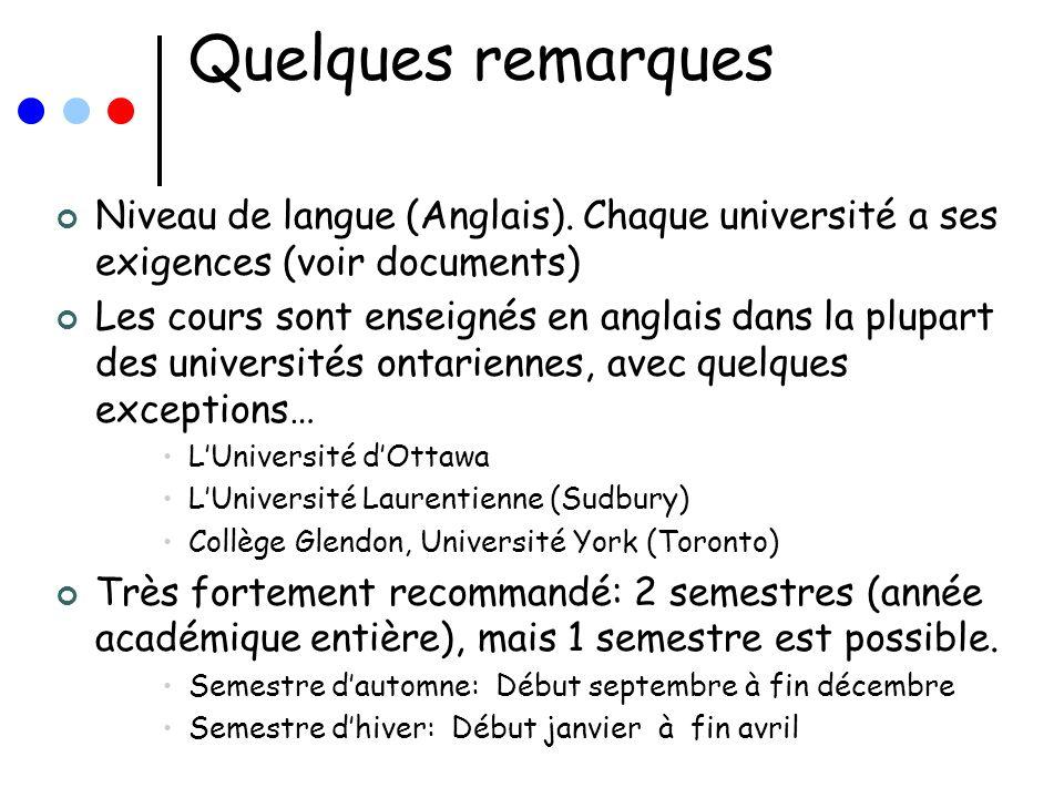 Quelques remarques Niveau de langue (Anglais). Chaque université a ses exigences (voir documents) Les cours sont enseignés en anglais dans la plupart