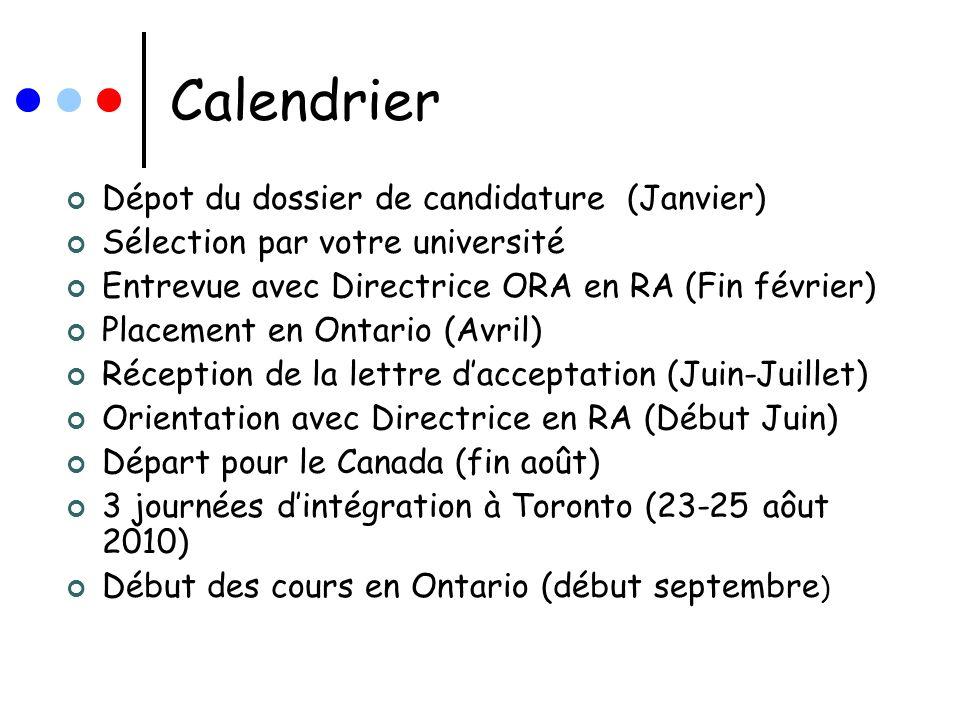 Calendrier Dépot du dossier de candidature (Janvier) Sélection par votre université Entrevue avec Directrice ORA en RA (Fin février) Placement en Onta