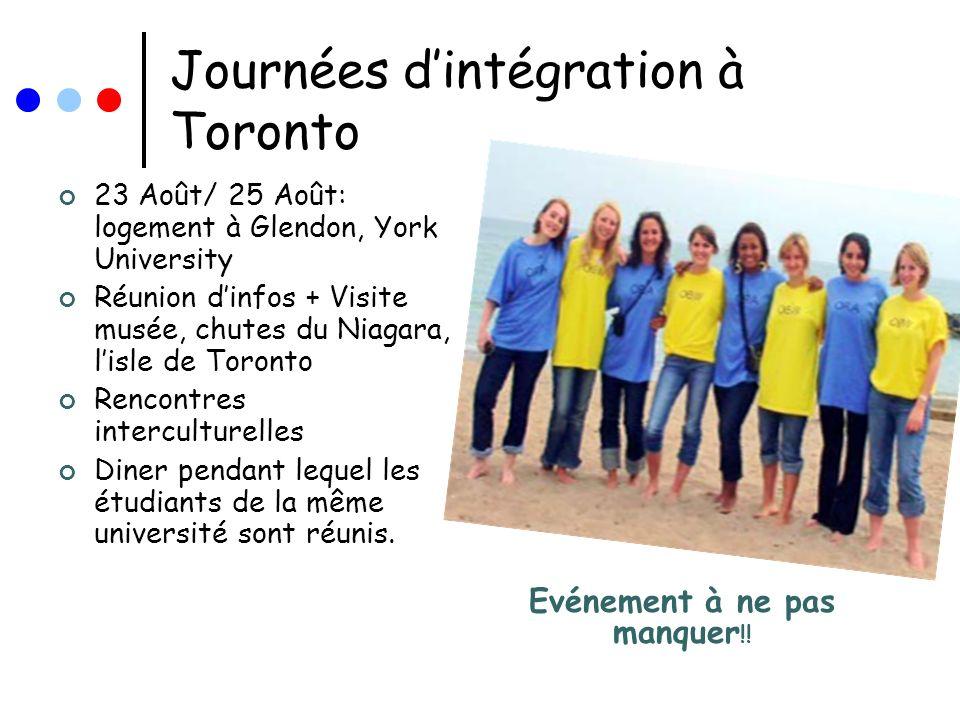 Journées dintégration à Toronto 23 Août/ 25 Août: logement à Glendon, York University Réunion dinfos + Visite musée, chutes du Niagara, lisle de Toron