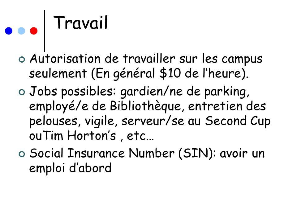 Travail Autorisation de travailler sur les campus seulement (En général $10 de lheure). Jobs possibles: gardien/ne de parking, employé/e de Bibliothèq