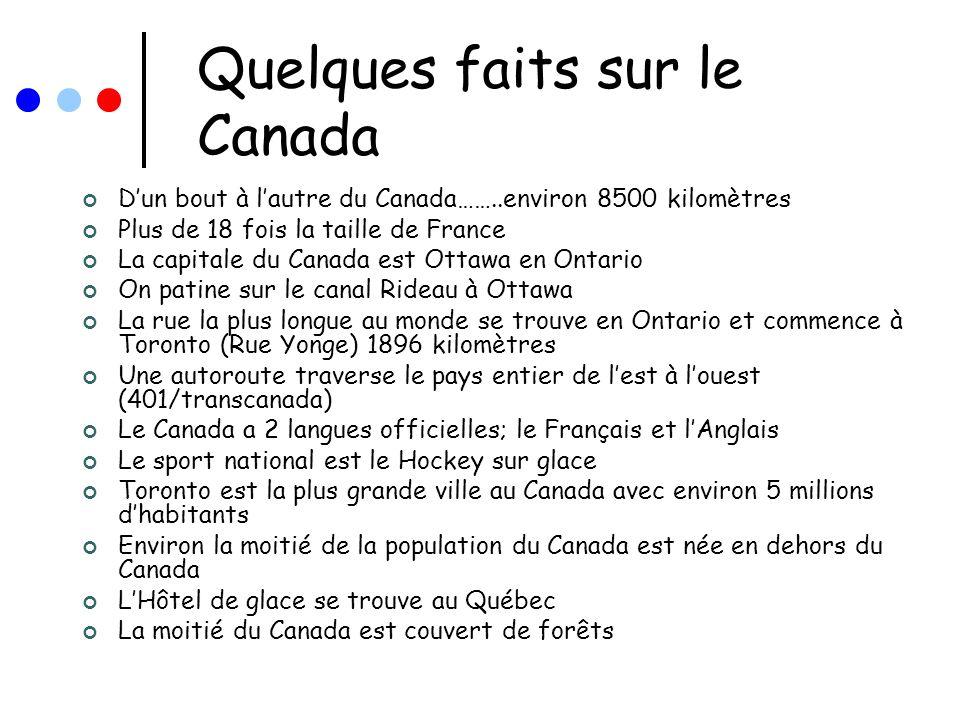 Quelques faits sur le Canada Dun bout à lautre du Canada……..environ 8500 kilomètres Plus de 18 fois la taille de France La capitale du Canada est Otta