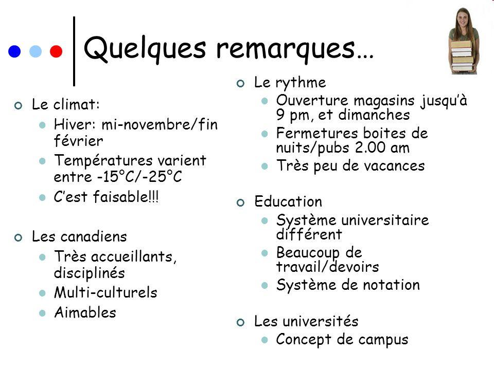 Système déducation en Ontario Léducation est une question Provinciale au Canada Après le secondaire (12 années détudes) UNDERGRADUATE: Bachelor (B.A., B.Sc.,B.Com, etc.) = 4 premières années détudes GRADUATE: M.A., M.Sc, MBA, etc.