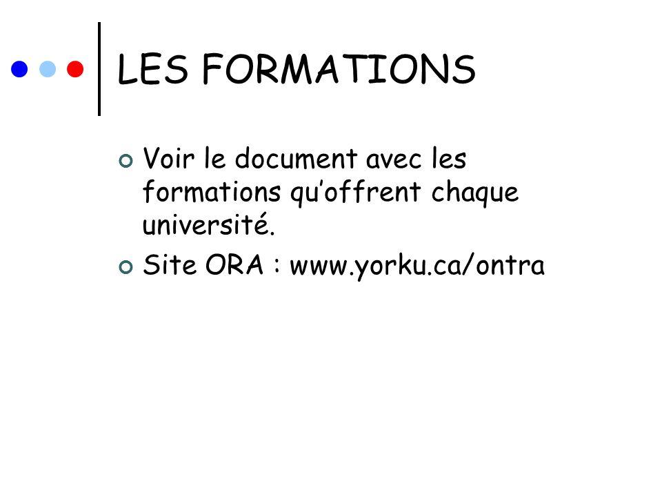 LES FORMATIONS Voir le document avec les formations quoffrent chaque université. Site ORA : www.yorku.ca/ontra