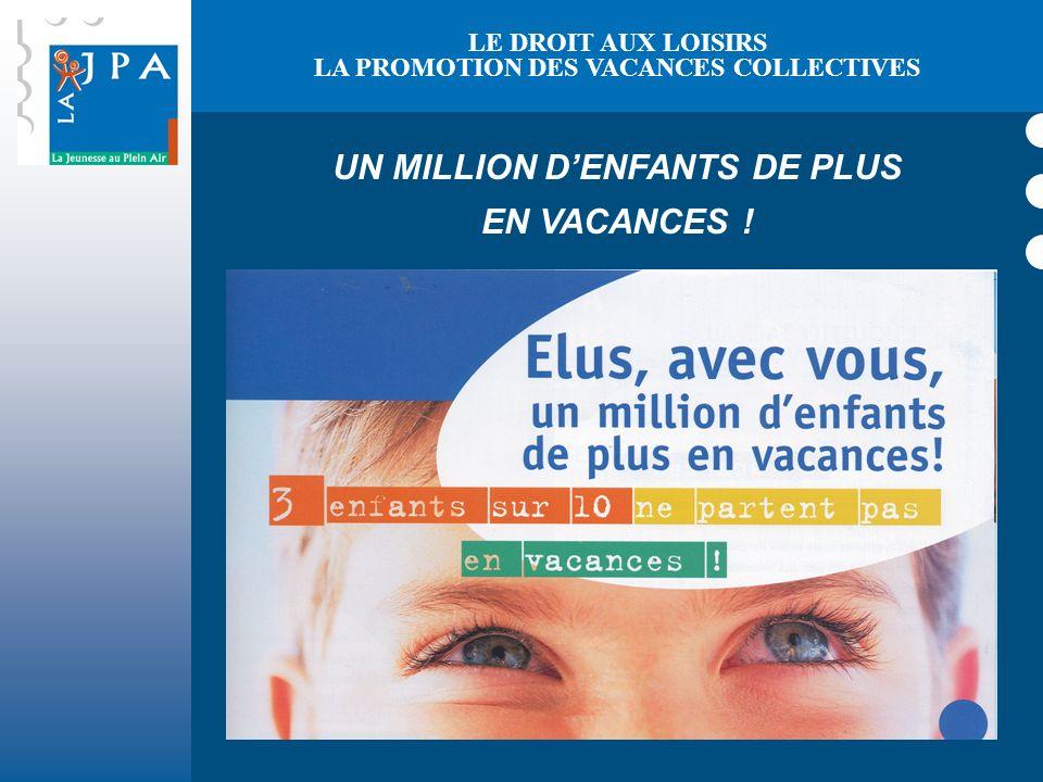 UN MILLION DENFANTS DE PLUS EN VACANCES ! LE DROIT AUX LOISIRS LA PROMOTION DES VACANCES COLLECTIVES