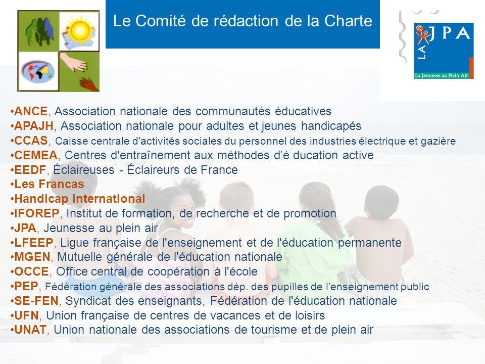 Le Comité de rédaction de la Charte ANCE, Association nationale des communautés éducatives APAJH, Association nationale pour adultes et jeunes handica