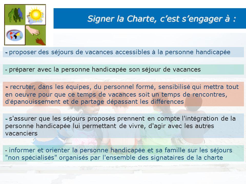 Signer la Charte, cest sengager à : - - proposer des s é jours de vacances accessibles à la personne handicap é e - - recruter, dans les é quipes, du