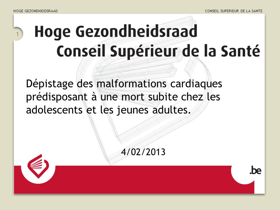 HOGE GEZONDHEIDSRAAD CONSEIL SUPERIEUR DE LA SANTE 1 Dépistage des malformations cardiaques prédisposant à une mort subite chez les adolescents et les jeunes adultes.