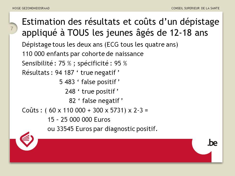 HOGE GEZONDHEIDSRAAD CONSEIL SUPERIEUR DE LA SANTE 7 Estimation des résultats et coûts dun dépistage appliqué à TOUS les jeunes âgés de 12-18 ans Dépistage tous les deux ans (ECG tous les quatre ans) 110 000 enfants par cohorte de naissance Sensibilité : 75 % ; spécificité : 95 % Résultats : 94 187 true negatif 5 483 false positif 248 true positif 82 false negatif Coûts : ( 60 x 110 000 + 300 x 5731) x 2-3 = 15 – 25 000 000 Euros ou 33545 Euros par diagnostic positif.