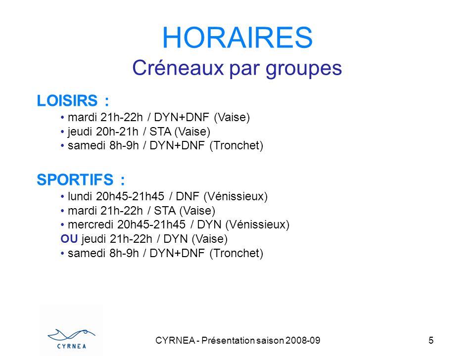 CYRNEA - Présentation saison 2008-09 5 HORAIRES Créneaux par groupes LOISIRS : mardi 21h-22h / DYN+DNF (Vaise) jeudi 20h-21h / STA (Vaise) samedi 8h-9