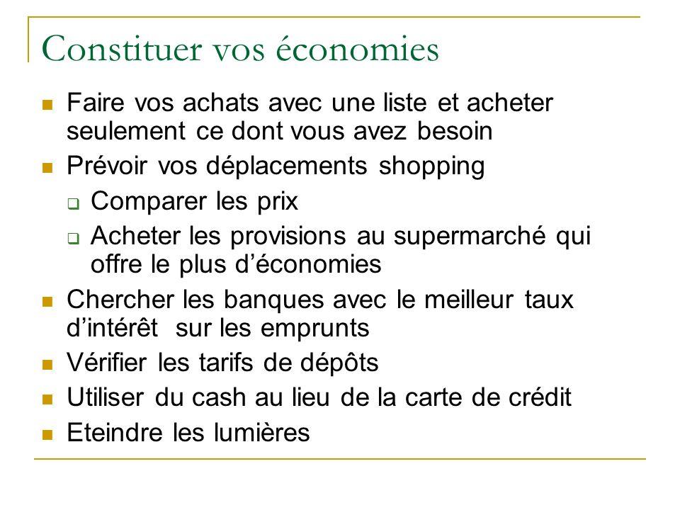 Constituer vos économies Faire vos achats avec une liste et acheter seulement ce dont vous avez besoin Prévoir vos déplacements shopping Comparer les