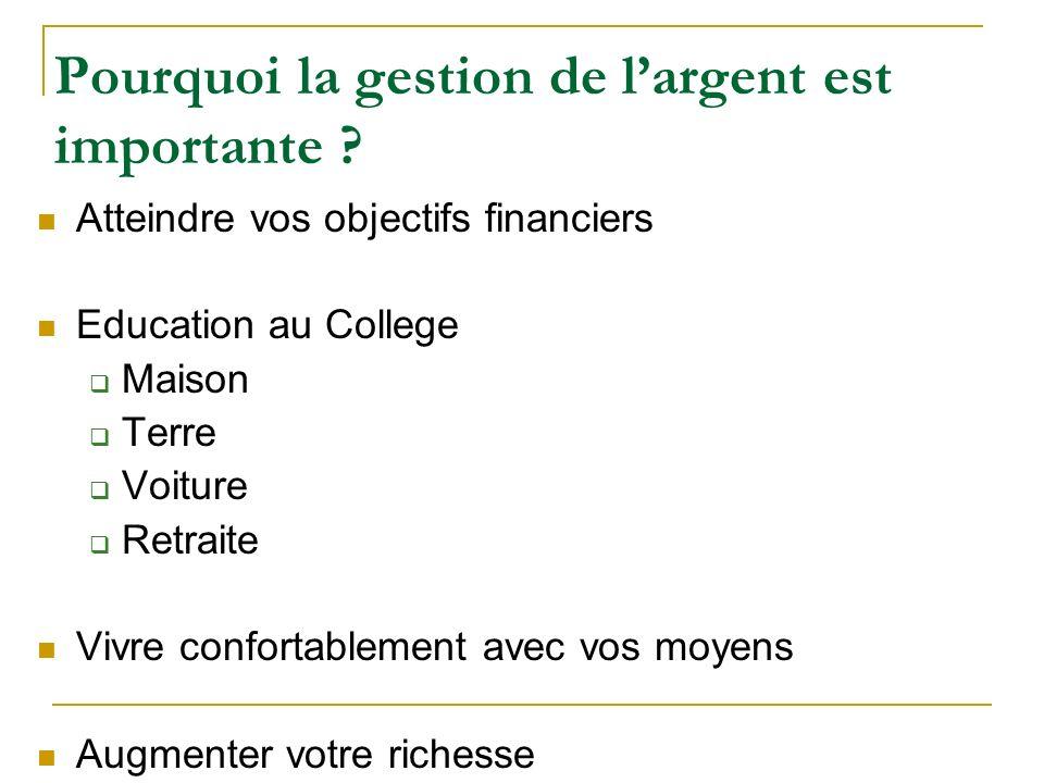 Pourquoi la gestion de largent est importante ? Atteindre vos objectifs financiers Education au College Maison Terre Voiture Retraite Vivre confortabl