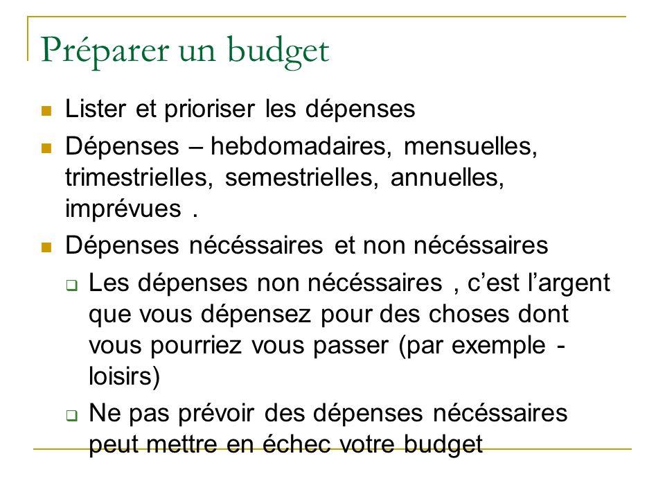 Préparer un budget Lister et prioriser les dépenses Dépenses – hebdomadaires, mensuelles, trimestrielles, semestrielles, annuelles, imprévues. Dépense