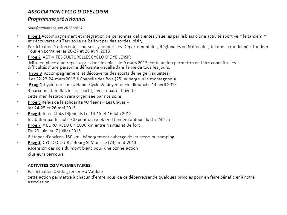 ASSOCIATION CYCLO DOYE LOISIR Programme prévisionnel Manifestations saison 2012/2013 Prog 1 Accompagnement et intégration de personnes déficientes visuelles par le biais dune activité sportive « le tandem », et découverte du Territoire de Belfort par des sorties loisir, Participation à différentes courses cyclotouristes Départementales, Régionales ou Nationales, tel que la randonnée Tandem Tour en Lorraine les 26-27 et 28 avril 2013 Prog 2 ACTIVITES CULTURELLES CYCLO DOYE LOISIR Mise en place dun repas « pris dans le noir », le 9 mars 2013, cette action permettra de faire connaître les difficultés dune personne déficiente visuelle dans la vie de tous les jours.