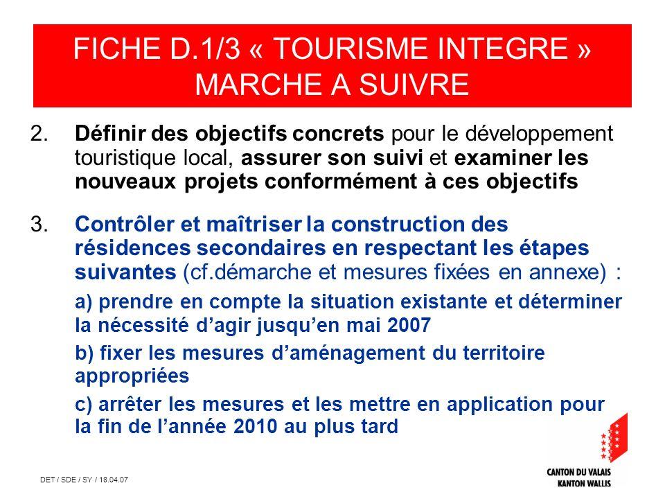 DET / SDE / SY / 18.04.07 Prise en compte de la situation existante FICHE D.1/3 « TOURISME INTEGRE » ANNEXE
