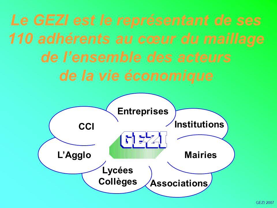 Le GEZI est le représentant de ses 110 adhérents au cœur du maillage de lensemble des acteurs de la vie économique CCI Institutions Entreprises LAgglo Lycées Collèges Associations Mairies GEZI 2007