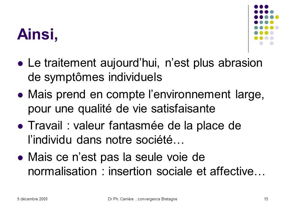 9 décembre 2009Dr Ph. Carrière ; convergence Bretagne15 Ainsi, Le traitement aujourdhui, nest plus abrasion de symptômes individuels Mais prend en com