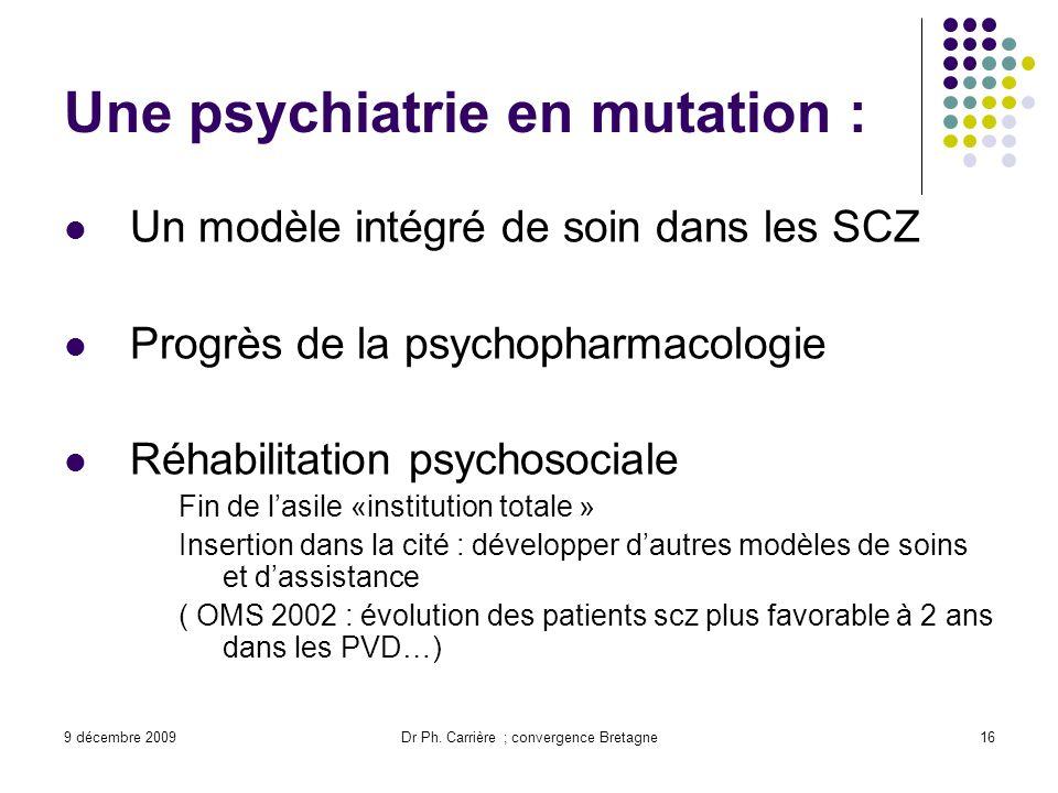 9 décembre 2009Dr Ph. Carrière ; convergence Bretagne16 Une psychiatrie en mutation : Un modèle intégré de soin dans les SCZ Progrès de la psychopharm