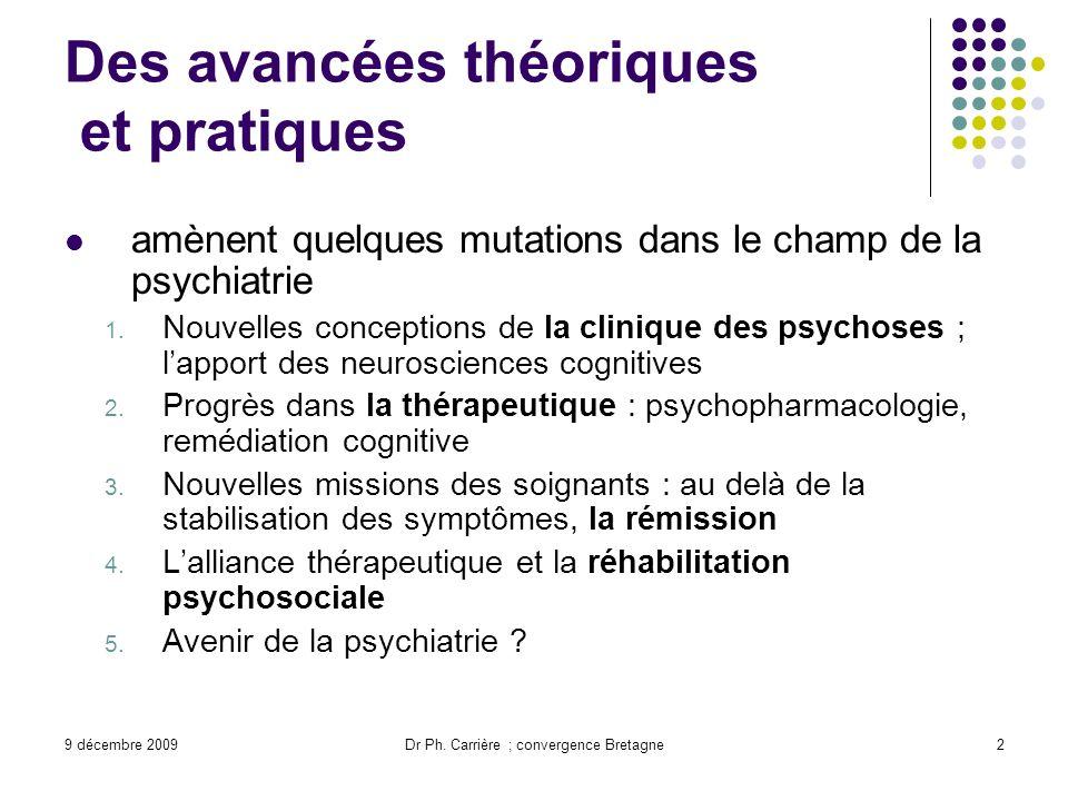 9 décembre 2009Dr Ph. Carrière ; convergence Bretagne2 Des avancées théoriques et pratiques amènent quelques mutations dans le champ de la psychiatrie