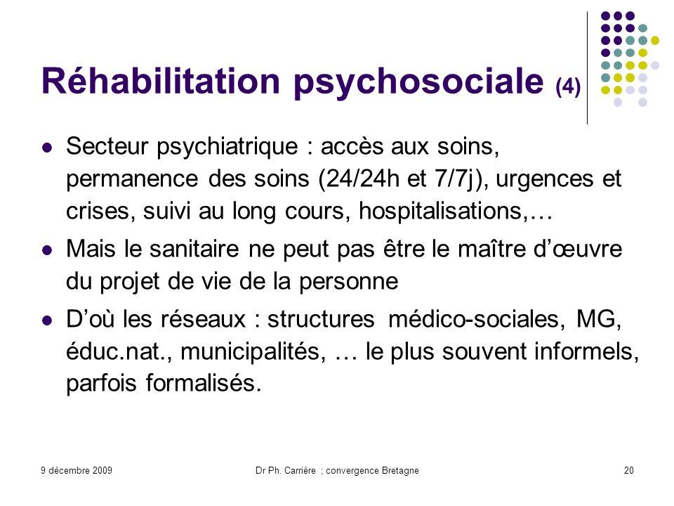 9 décembre 2009Dr Ph. Carrière ; convergence Bretagne20 Réhabilitation psychosociale (4) Secteur psychiatrique : accès aux soins, permanence des soins