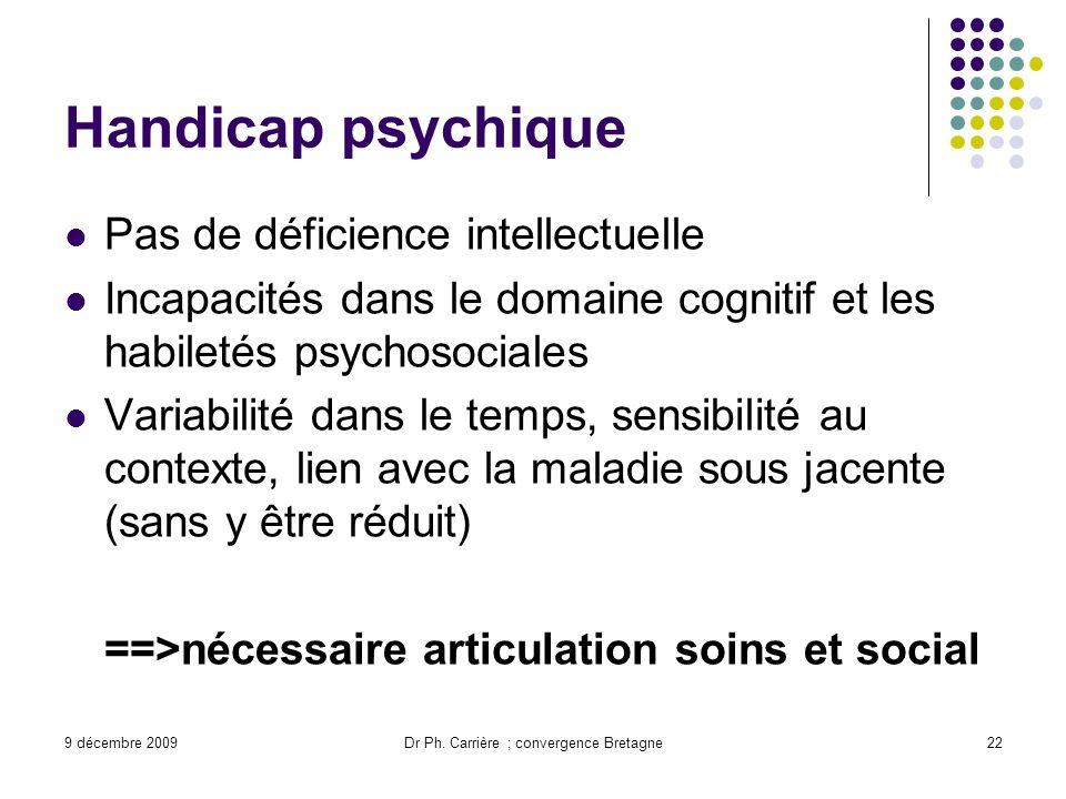 9 décembre 2009Dr Ph. Carrière ; convergence Bretagne22 Handicap psychique Pas de déficience intellectuelle Incapacités dans le domaine cognitif et le