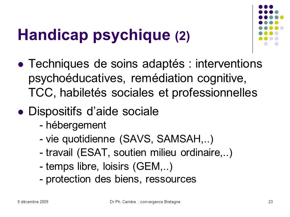9 décembre 2009Dr Ph. Carrière ; convergence Bretagne23 Handicap psychique (2) Techniques de soins adaptés : interventions psychoéducatives, remédiati