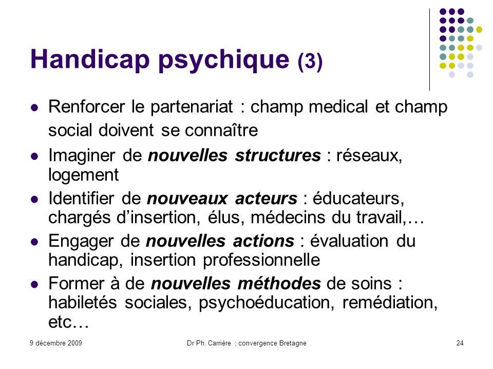 9 décembre 2009Dr Ph. Carrière ; convergence Bretagne24 Handicap psychique (3) Renforcer le partenariat : champ medical et champ social doivent se con