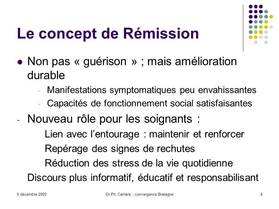 9 décembre 2009Dr Ph. Carrière ; convergence Bretagne4 Le concept de Rémission Non pas « guérison » ; mais amélioration durable - Manifestations sympt