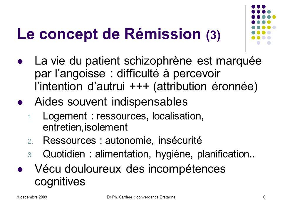 9 décembre 2009Dr Ph. Carrière ; convergence Bretagne6 Le concept de Rémission (3) La vie du patient schizophrène est marquée par langoisse : difficul