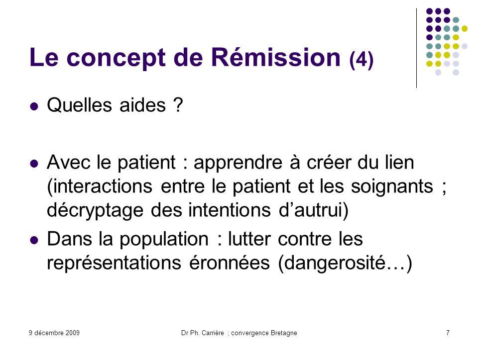 9 décembre 2009Dr Ph. Carrière ; convergence Bretagne7 Le concept de Rémission (4) Quelles aides ? Avec le patient : apprendre à créer du lien (intera
