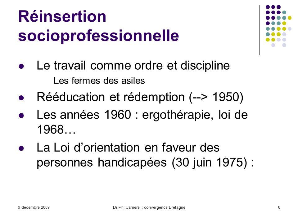 9 décembre 2009Dr Ph. Carrière ; convergence Bretagne8 Réinsertion socioprofessionnelle Le travail comme ordre et discipline Les fermes des asiles Réé