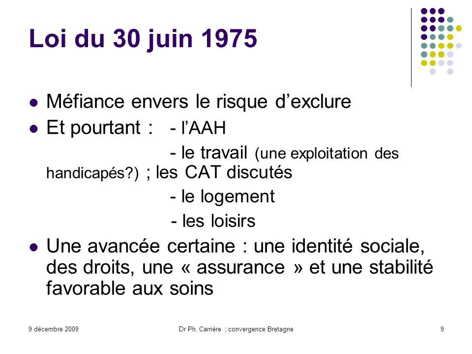 9 décembre 2009Dr Ph. Carrière ; convergence Bretagne9 Loi du 30 juin 1975 Méfiance envers le risque dexclure Et pourtant : - lAAH - le travail (une e