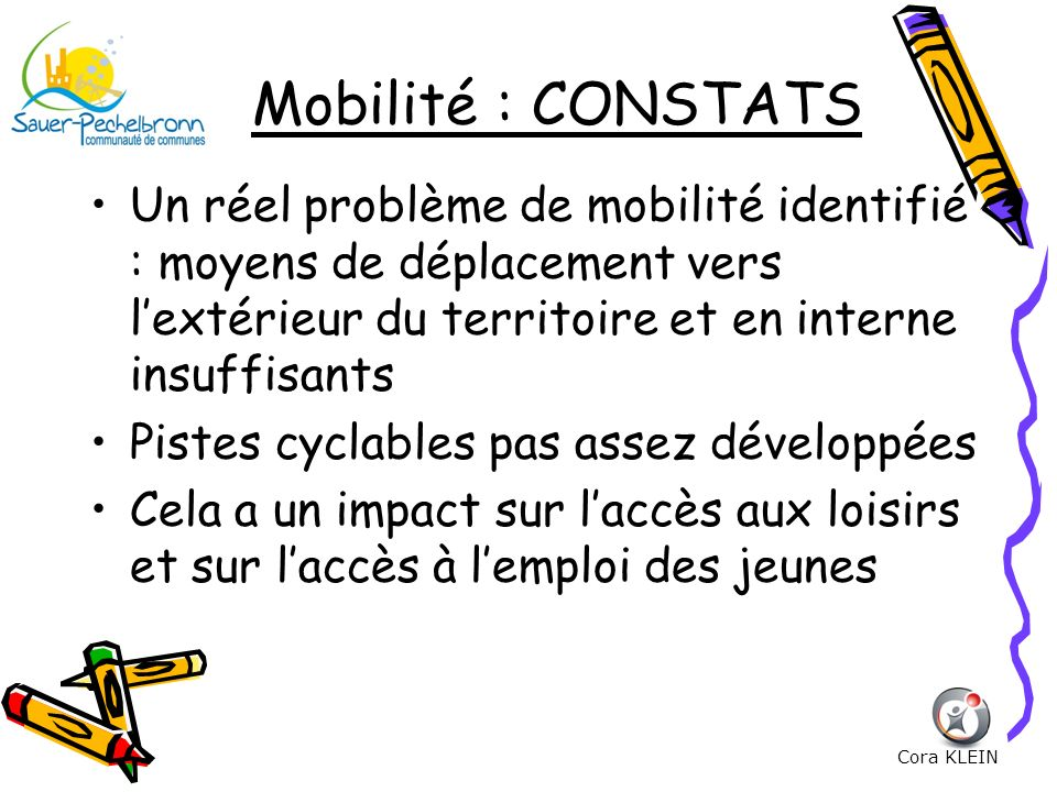 Mobilité : CONSTATS Un réel problème de mobilité identifié : moyens de déplacement vers lextérieur du territoire et en interne insuffisants Pistes cyc