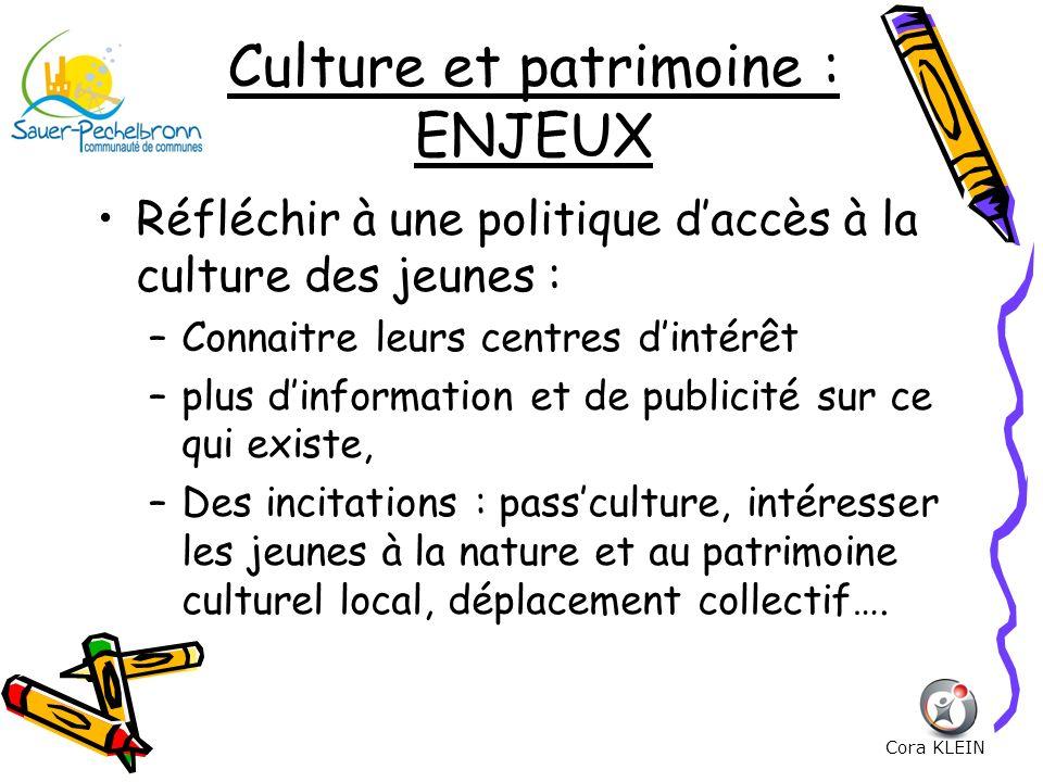 Culture et patrimoine : ENJEUX Réfléchir à une politique daccès à la culture des jeunes : –Connaitre leurs centres dintérêt –plus dinformation et de p