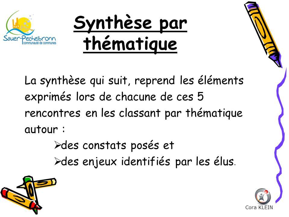 Synthèse par thématique La synthèse qui suit, reprend les éléments exprimés lors de chacune de ces 5 rencontres en les classant par thématique autour