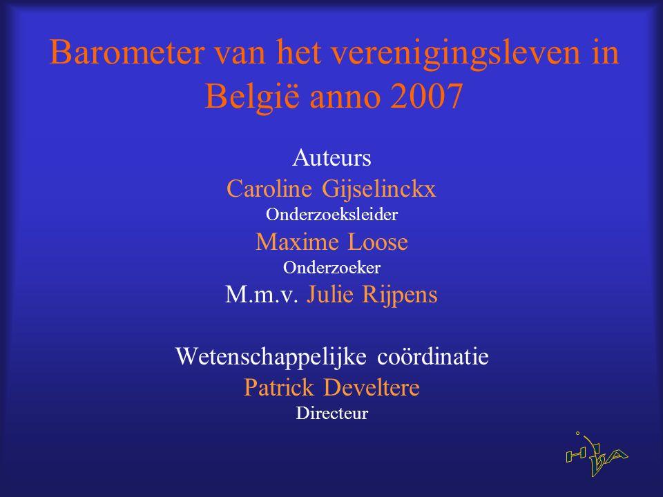 Barometer van het verenigingsleven in België anno 2007 Auteurs Caroline Gijselinckx Onderzoeksleider Maxime Loose Onderzoeker M.m.v. Julie Rijpens Wet