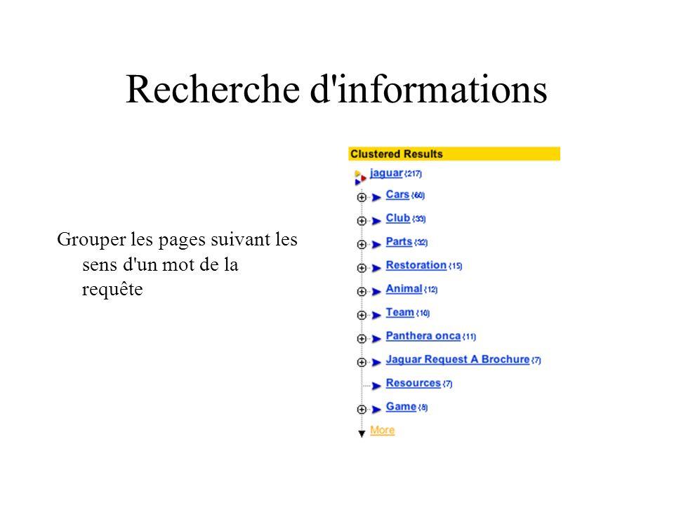 Recherche d informations Grouper les pages suivant les sens d un mot de la requête