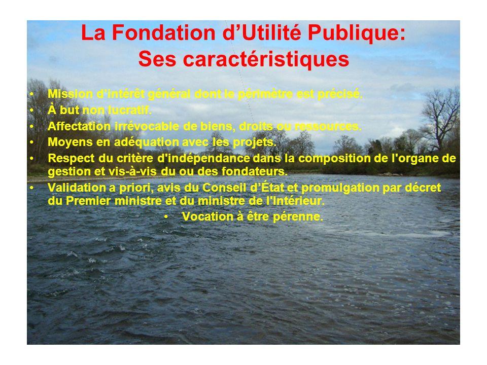 La Fondation dUtilité Publique: Ses caractéristiques Mission dintérêt général dont le périmètre est précisé.