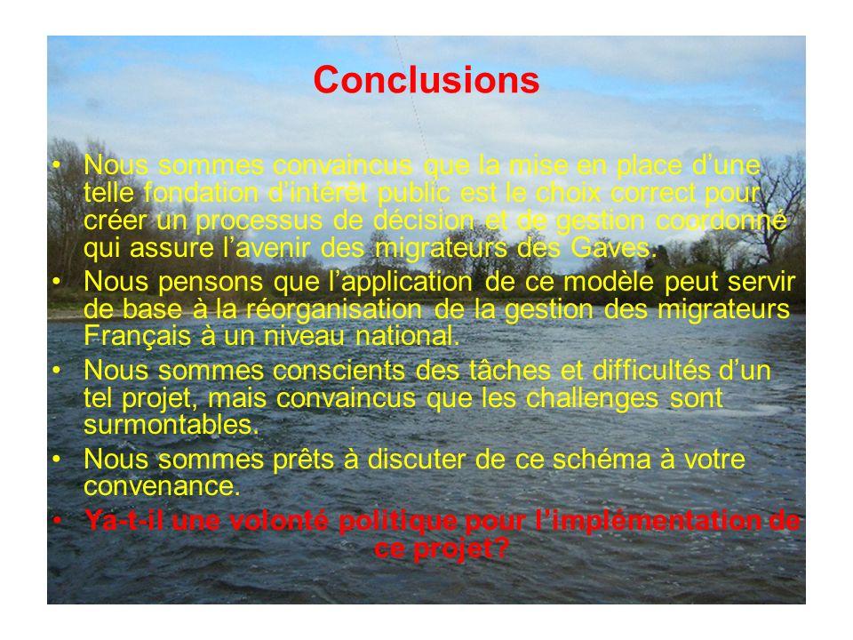 Conclusions Nous sommes convaincus que la mise en place dune telle fondation dintérêt public est le choix correct pour créer un processus de décision et de gestion coordonné qui assure lavenir des migrateurs des Gaves.