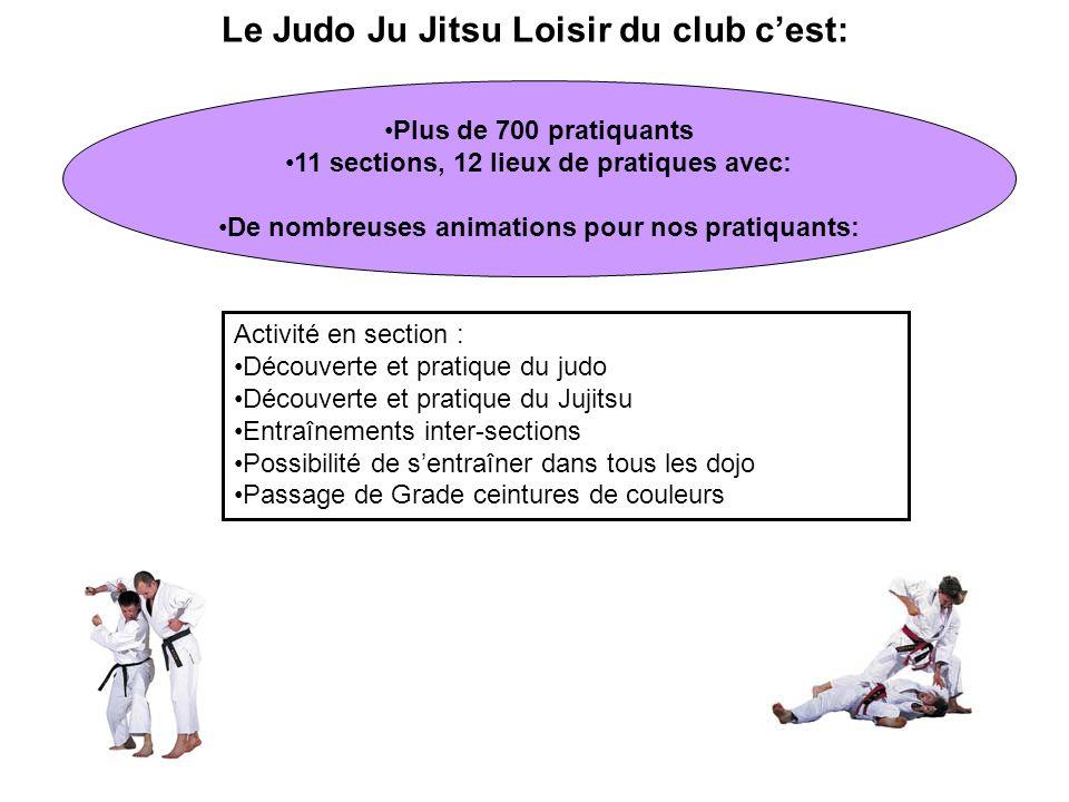 Le Judo Ju Jitsu Loisir du club cest: Plus de 700 pratiquants 11 sections, 12 lieux de pratiques avec: De nombreuses animations pour nos pratiquants: Activité en section : Découverte et pratique du judo Découverte et pratique du Jujitsu Entraînements inter-sections Possibilité de sentraîner dans tous les dojo Passage de Grade ceintures de couleurs