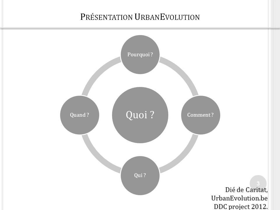 P RÉSENTATION U RBAN E VOLUTION 3 Quoi ? Pourquoi ?Comment ?Qui ?Quand ? Dié de Caritat, UrbanEvolution.be DDC project 2012.