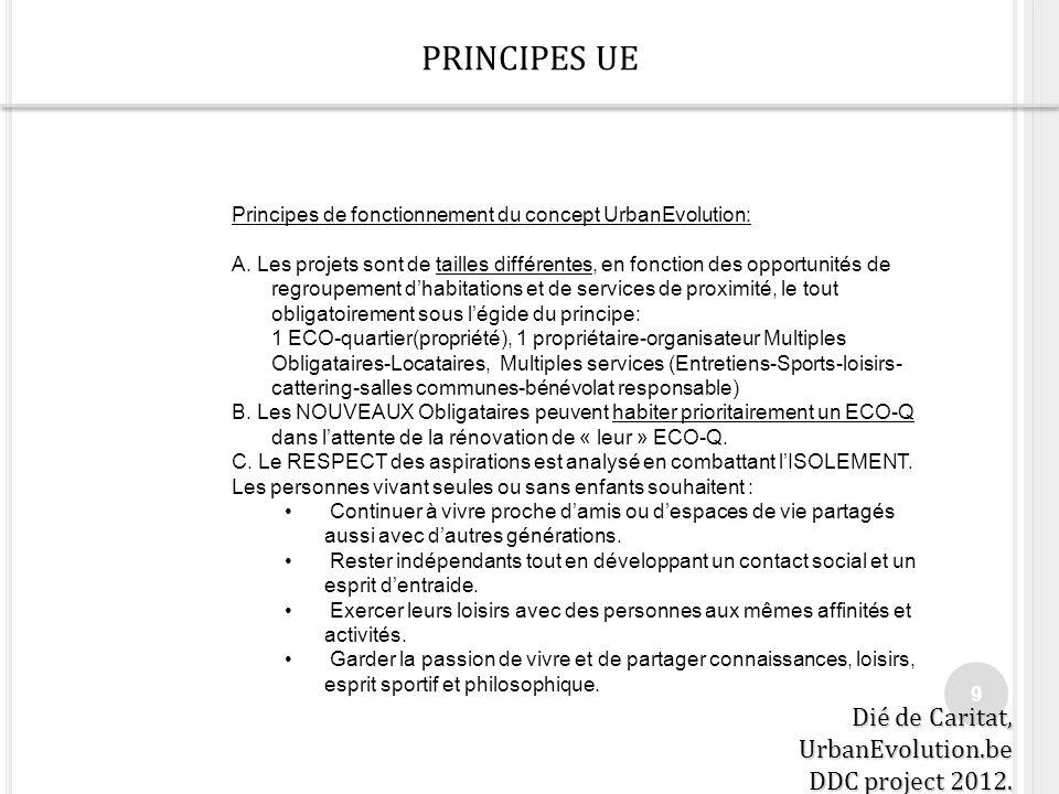 PRINCIPES UE 9 Principes de fonctionnement du concept UrbanEvolution: A. Les projets sont de tailles différentes, en fonction des opportunités de regr