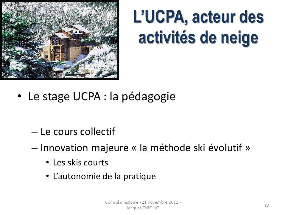 LUCPA, acteur des activités de neige Le stage UCPA : la pédagogie – Le cours collectif – Innovation majeure « la méthode ski évolutif » Les skis court