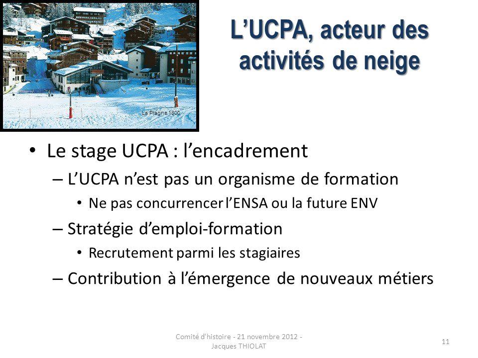LUCPA, acteur des activités de neige Le stage UCPA : lencadrement – LUCPA nest pas un organisme de formation Ne pas concurrencer lENSA ou la future EN