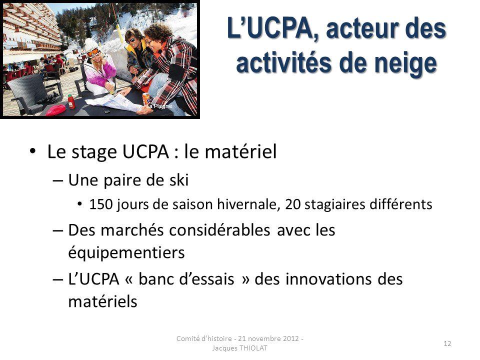 LUCPA, acteur des activités de neige Le stage UCPA : le matériel – Une paire de ski 150 jours de saison hivernale, 20 stagiaires différents – Des marc