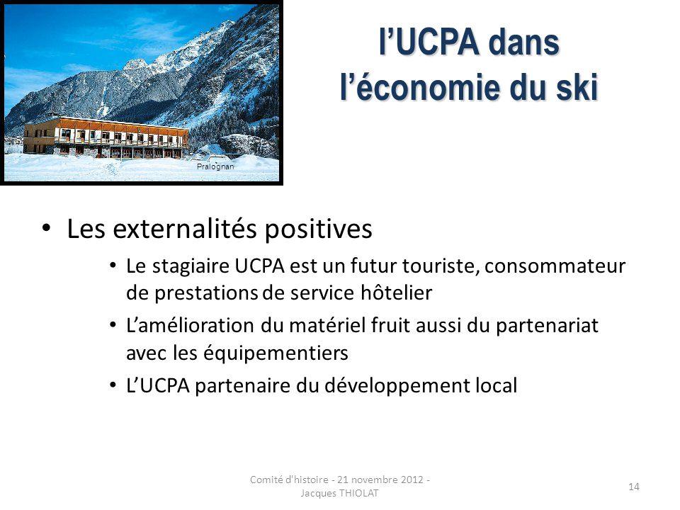 lUCPA dans léconomie du ski Les externalités positives Le stagiaire UCPA est un futur touriste, consommateur de prestations de service hôtelier Laméli