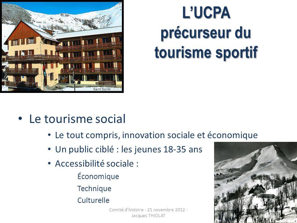 LUCPA précurseur du tourisme sportif Le tourisme social Le tout compris, innovation sociale et économique Un public ciblé : les jeunes 18-35 ans Acces