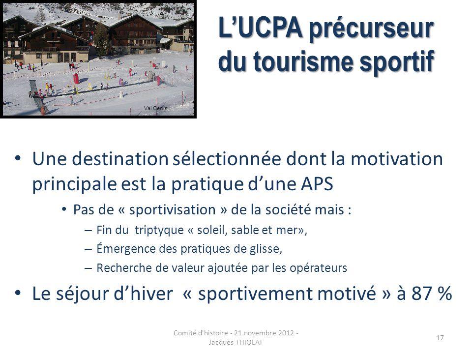 LUCPA précurseur du tourisme sportif Une destination sélectionnée dont la motivation principale est la pratique dune APS Pas de « sportivisation » de