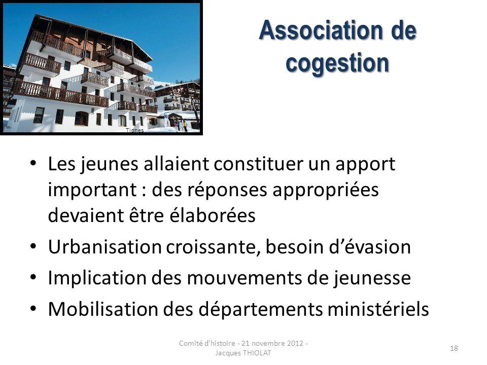 Association de cogestion Les jeunes allaient constituer un apport important : des réponses appropriées devaient être élaborées Urbanisation croissante